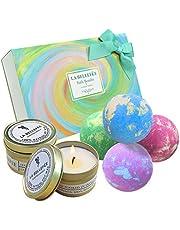 LA BELLEFÉE Bomby kąpielowe, zestaw upominkowy ze świecami zapachowymi, naturalne kule do kąpieli, do relaksu, luksusowy prezent dla kobiet, dziewczyny, matki, idealny prezent na Walentynki, urodziny dla mamy, żony