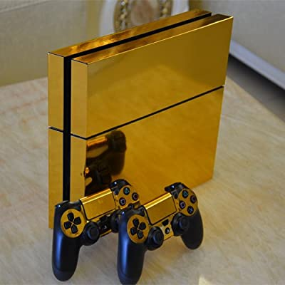Gold Glossy Decal Skin Sticker for Playstation 4 PS4 Console+Controllers from Huizhou City Junsi Electronics Co., Ltd.