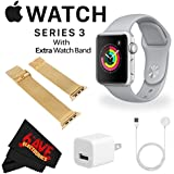 6Ave Apple Watch Series 3 38mm Smartwatch (GPS Only, Silver Aluminum Case, Fog Sport Band) MQKU2LL/A + WATCH BAND ROSE GOLD MESH 38mm + MicroFiber Cloth Bundle