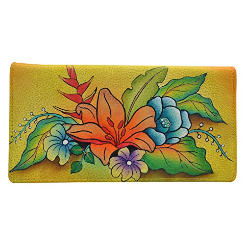 Anna by Anuschka Women's Handpainted Leather Ladies Wallet Snap Button Closure, Tropical Bouquet Yellow