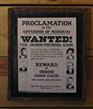 Framed Vintage Wanted Poster of the James-Younger Gang Wooden Sign