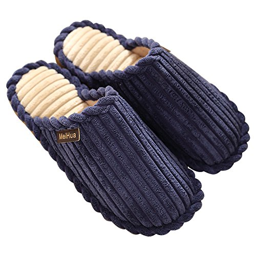 Eastlion Women and Men's Winter Indoor Anti-skid Keep Warm Slipper Fleece Slippers House Slippers Home Shoes Blue Black DwBPnUdy