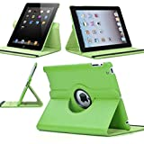 SuperLite 360 Degrees Rotating Stand Leather Case for Ipad 2/3/4, green