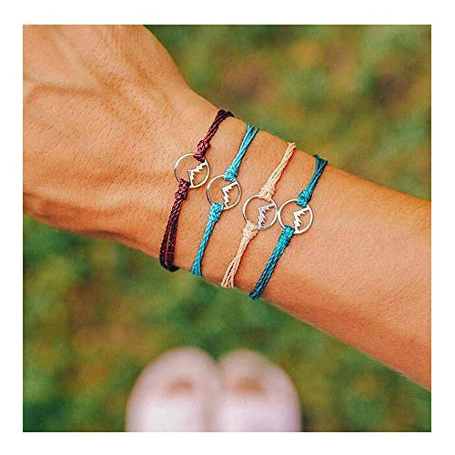 (CHOA 3 Pcs Summer Surfer Wave Bracelet Adjustable Friendship Bracelet Handcrafted Jewelry Women (J:4 Peaks))