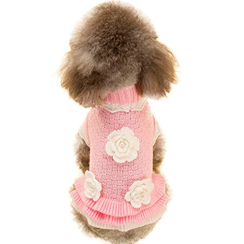 (Joytale Turtleneck Flower Studded Pet Dog Sweater Apparel, Pink Female Girl Dog Winter Clothes, Fits Small Puppy Breeds, Back Length 8.2