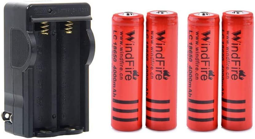 WindFire 4000mAh 3.7v Rechargeable Batteries Button Top Batteries 2-Bay Smart Charger 18650