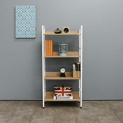 estantería Duo baldas Librero Marco metálico Oficina 1 Piezas organización (Color : White Frame,