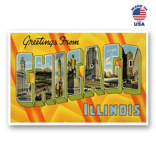GREETINGS FROM CHICAGO vintage reprint postcard set of 20 identical postcards. Large letter Chicago, Illinois city and state name post card pack (ca. 1930's-1940's). Made in USA.