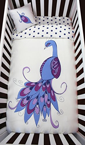 Peacock & Navy Polka Dots Baby Crib Bedding Set - 100% Luxurious Sateen Organic Cotton 300 Thread Count - Baby Duvet Cover + Microfiber Duvet + Crib Fitted Sheet + Baby Peacock Feather (Peacock Baby)