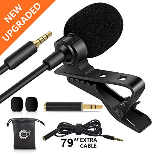 "EJT Lavalier Lapel Microphone with 79"" Extension Cable and PC Adapter-Professional Omnidirectional Condenser Mic for iPhone, Android Smartphone, DSLR, YouTube, Live Streaming Video Recording"