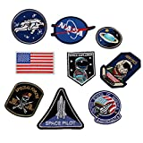 HUIXUN Space Astronaut and Flag Patches Embroidered Iron on Patches for Clothing DIY Clothes Stickers Custom Badges 1 Set