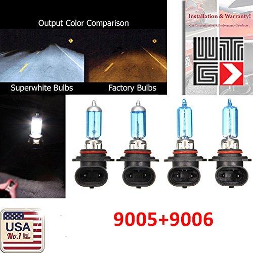 WTG Combo 9006-HB4 9005-HB3 100W White 5000K Xenon Halogen Headlight Bulb (High/Low Beam) Hi/Lo Oem Head Light Car US Seller
