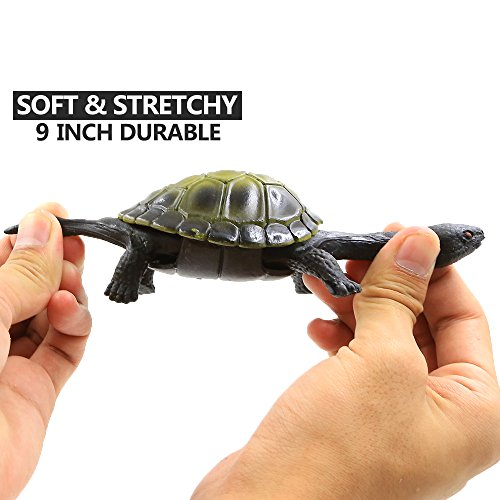 Turtle Toys,Sea Ocean Animal 5 Inch Rubber Tortoise Turtle Sets(8 Pack),Great Safety Material TPR Super Stretchy,Can Hide In Shell ValeforToy Bathtub Bath Pool Toy Party Favors Boys Kids by ValeforToy (Image #6)