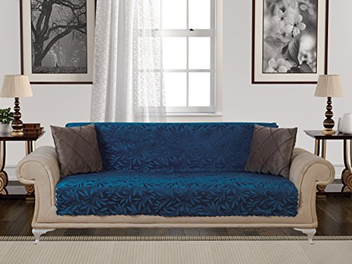 Anti-Slip Armless Pet Dog Sofa Cover Couch Covers Sectional Slipcover Non-Slip Arm-chair Recliner Chair Love-Seat Furniture Protector Futon Shield 1 2 3 Seater T Cushion L Shaped Leather (Sofa/Navy) (Sectional Sofa Denim)