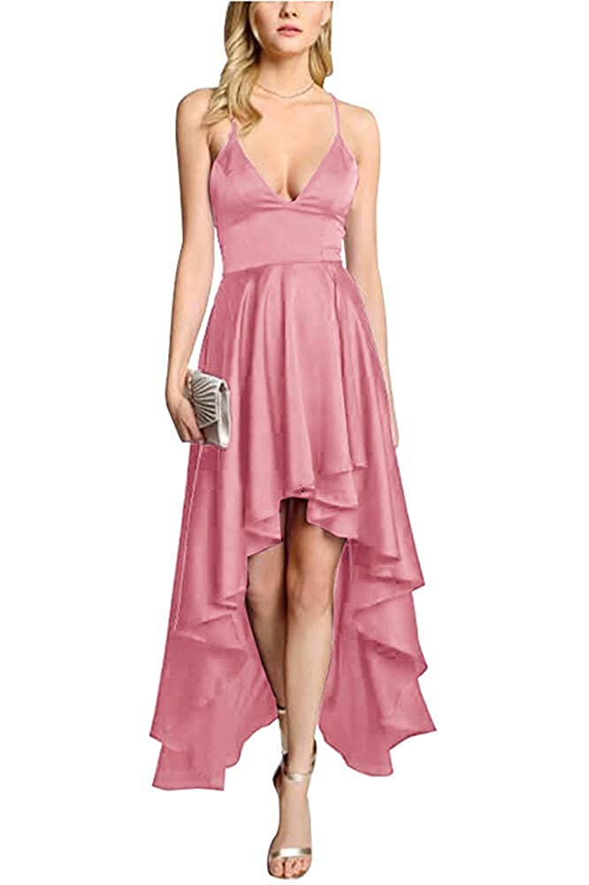 Dusty pink ZLQQ Women's Spaghetti Strap Prom Dresses HiLo VNeck Bridesmaid Dress Short Formal Evening Gown