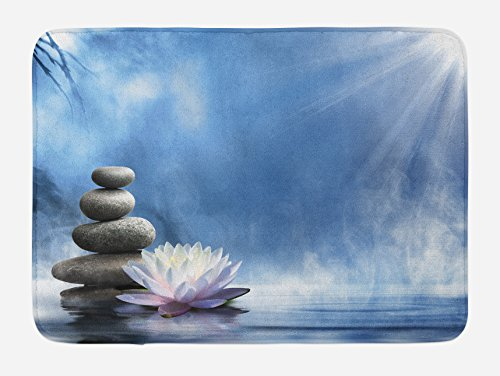 at, Purity of the Zen Massage Magic Lily Stones Sunbeams Spirituality and Serenity Theme, Plush Bathroom Decor Mat with Non Slip Backing, 29.5 W X 17.5 W Inches, Blue White (Zen Bath)