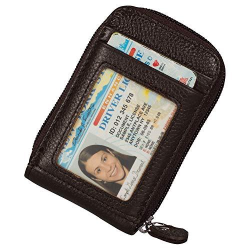 Noedy RFID Blocking Credit Card Case Organizer Genuine Leather Zip-Around Security Wallet Coffee