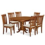Cheap East West Furniture PORT7-SBR-C 7 Piece Dining Table Set with Microfiber Upholstered Seat, Saddle Brown Finish
