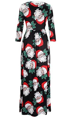 Mince Printemps Floral De Noël De Femmes Coolred Manches Longues Robe Maxi 9