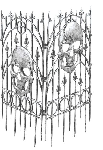 Forum Novelties Silver Skull Fence Prop, 2-Pieces (Fence Creepy Border)