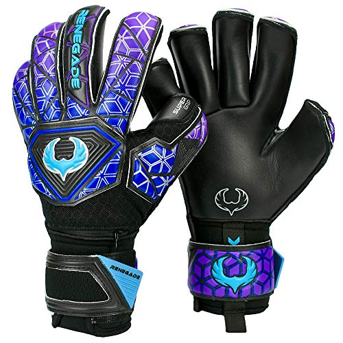 Renegade GK Vortex Storm Soccer Junior-Youth Goalkeeper Gloves Size 8 (Black, Blue, Purple) - Unisex, Adult, Kids Goalie