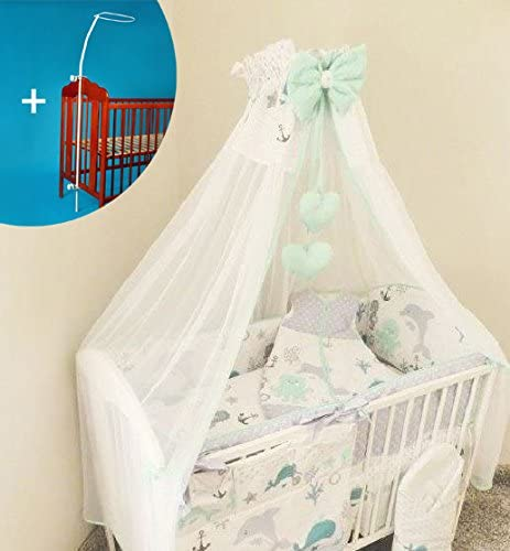 Chiffon Canopy//Tulle Drape 200x160cm Metal Clamp Holder for Baby Cot Bed Blue