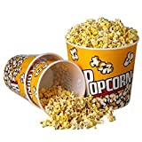 "Set of 3 Fun Movie Theater Style Plastic Popcorn Tubs - 8""-7.75"""