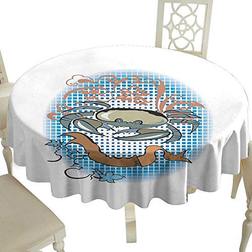 Outdoor Round Tablecloth Rectangular 70 Inch Crabs,Cancer Sign in Cartoon Tattoo Style Astrological Theme with Floral Details Horoscope,Multicolor Great for,Party & More
