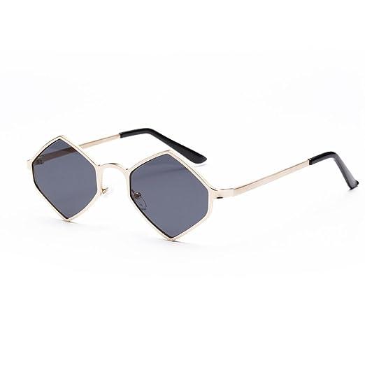 Women Hexagonal Metal Frame Aviator Shades Sunglasses Integrated UV Vintage  Glasses (Gray c9b5f1be27