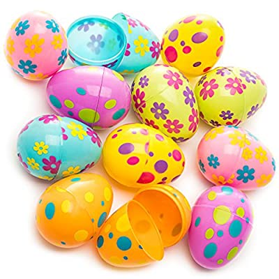 Kicko Printed Pastel Plastic Surprise Eggs - 3 Inches Assorted Colorful Eggs with Pattern - 1 Dozen - Party Bag Stuffer, Rewards - Cool and Fun Reusable Eggs: Toys & Games
