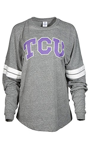 - Official NCAA Texas Christian University Horned Frogs TCU Horned Frog FROGS FIGHT! Women's Long Sleeve Tri- Blend Football Tee