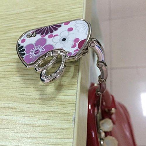 Porte Sac /à Main Pliable Motif de Papillon Porte-crochet Suspension Fourre-tout Rose