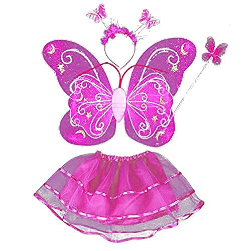 Fairy Butterfly Wing 4 Piece Set Costume Tutu Ballerina Dress up Dance Skirt (Dk Pink)