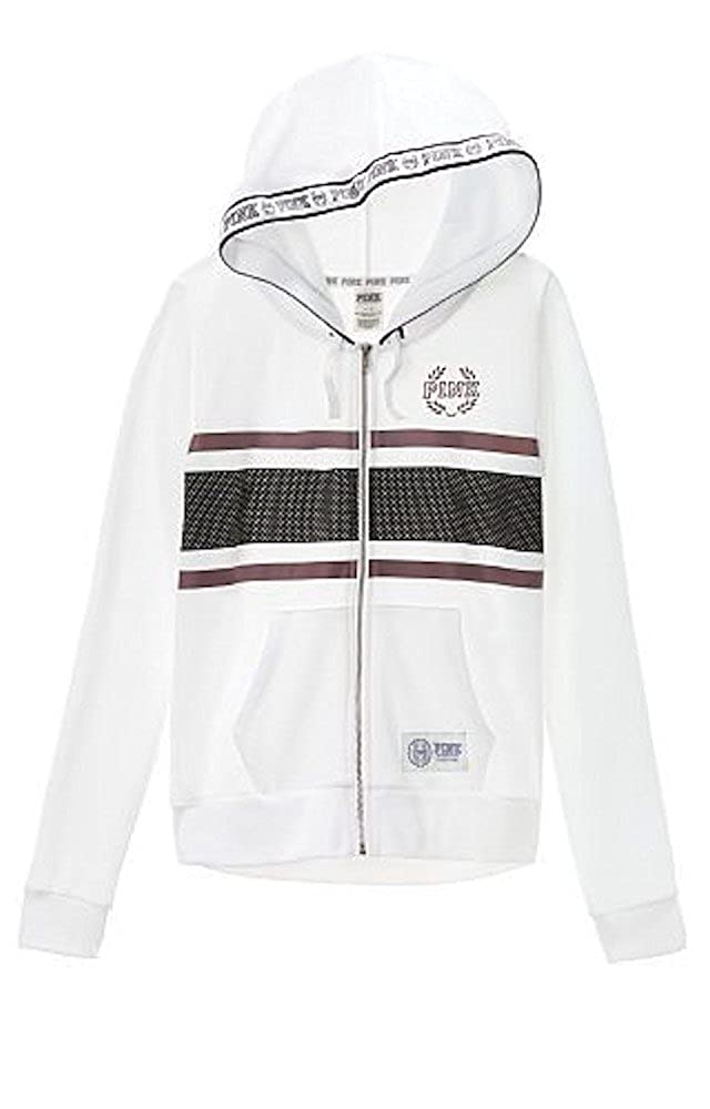 b6b5334b5 Victoria's Secret Pink Perfect Full Zip Hoodie, White/purple stripe ...