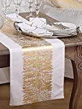 Agatha Metallic Banded Cotton Table Runner, 16
