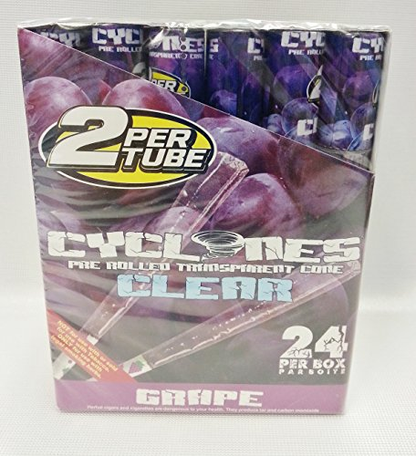 Full Box 24 Cyclones Grape Flavored Pre Rolled Cones Clear Non Tobacco Cone