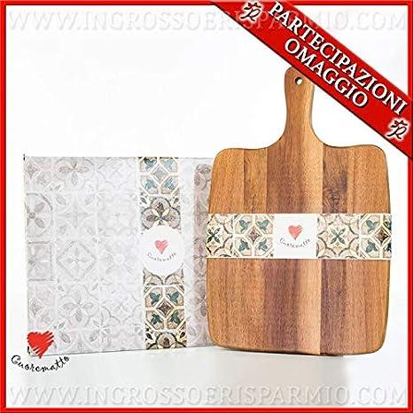 Ingrosso e Risparmio Cuorematto - Tabla de cortar de madera cuadrada con orificio en el mango, ideas solidarias, recuerdos originales de boda, artículos para el hogar, con caja de regalo incluida