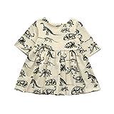 MML Girls Dress, Toddler Infant Cartoon Dinosaur Print Button Half Sleeve Sun Dresses Clothes Outfit (6-12 Months, Beige)