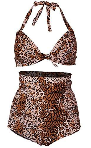 Womens Chic Retro Floral Print Halter High Waist Swimsuit Bathing Suit Bikini Set (Small, Brown Leopard) (Leopard Retro)