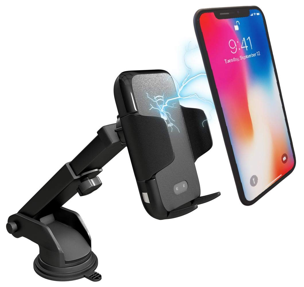 Wireless Car Phone Mount Charger: Qi Fast Charging Pad and Infrared Sensing Dashboard Clamp for iPhone 8 / X and Samsung Galaxy S6 / 9 - Car Cell Phone Holder with Dash Suction Mount and Air Vent Clip