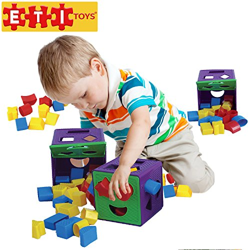 UPC 646437673488, ETI Toys - 19 Piece Shape Sorter Cube with Multiple Color Shapes for Sorting