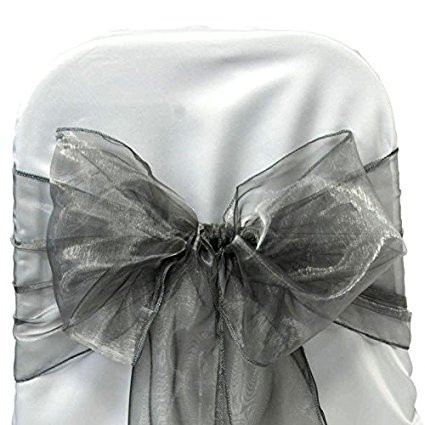 ITALY'S HOME PACK OF 100 Organza Net Chair Cover Bow Sash Wedding Banquet Decor coral (100, SILVER GREY)