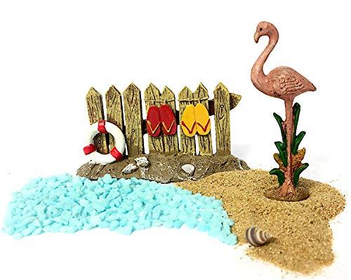 Pabu Guli DIY - Fairy Garden Miniature Beach Sand and Sea Kit with Flip Flops on Fence and Pink Flamingo