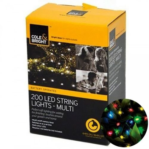 Cole and Bright Battery Operated 200 LED String Waterproof Outdoor Christmas Xmas Lights with Timer - Multi Coloured [Energy Class A+++]