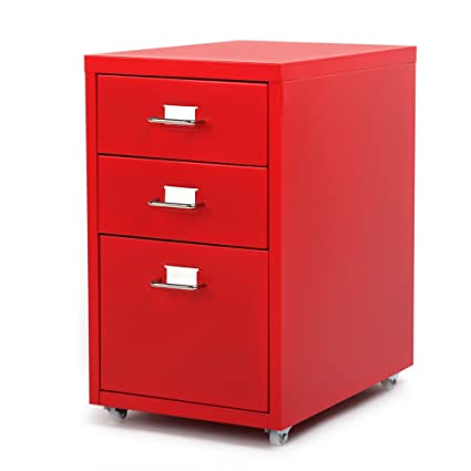 IKAYAA Office Metal File Cabinet 3 Drawer Detachable Mobile Steel File  Cabinets With 4 Casters Office