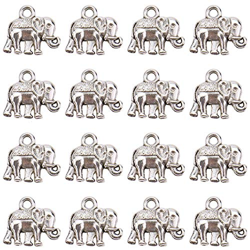 Monrocco 100Pcs Good Luck Elephant Animals Charms Pendants for Crafting, DIY Necklace Bracelet Jewelry Findings Making Accessory, Antique Silver -