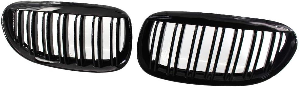 Carrfan 2Pcs Capot de Pare-Chocs de Calandre Avant Grille de Rein Grille de Course Noir Brillant Remplacement pour BMW S/érie 6E63 2003-2010