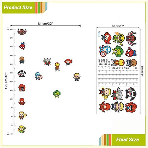 (Funny Doll Iron Man Avengers Captain Spiderman Cartoon Movie Hero Home Decal Kids Room Height Measure Growth Chart Wall Stickers as The Picture)
