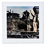 3dRose Scenes from the Past Magic Lantern Slides - Couple on a Steam Engine Locomotive Vintage 1920s - 12x12 inch quilt square (qs_269959_4)