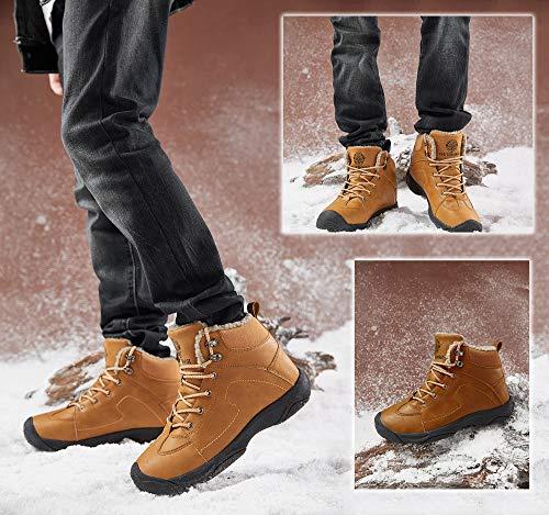 Axcone Homme Femme Chaussures Trekking Randonnée Bottes de Neige Hiver Imperméable Outdoor Boots Fourrure Cuir… 7